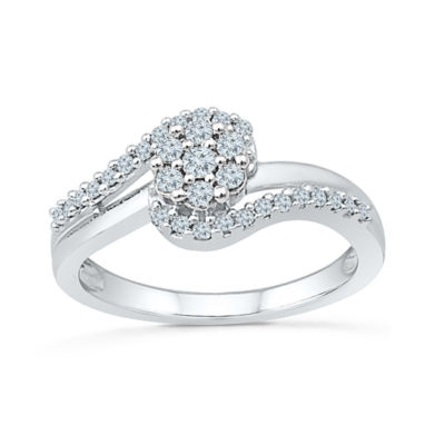 Promise My Love Womens 1/3 CT. T.W. Genuine White Diamond Sterling Silver Promise Ring