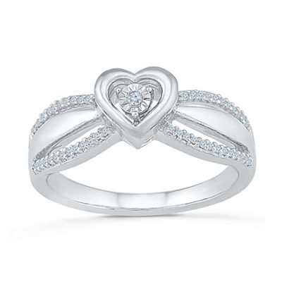 Promise My Love Womens 1/10 CT. T.W. Round White Diamond Promise Ring