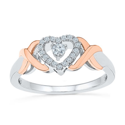 Promise My Love Womens 1/6 CT. T.W. Round White Diamond Promise Ring