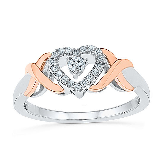 Promise My Love Womens 1/6 CT. T.W. Genuine White Diamond 10K Gold Over Silver Heart Promise Ring