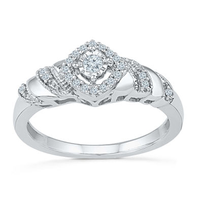 Promise My Love Womens 1/5 CT. T.W. Round White Diamond Promise Ring