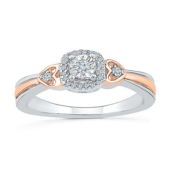 Promise My Love Womens 1/10 CT. T.W. Genuine White Diamond 10K Gold Over Silver Promise Ring