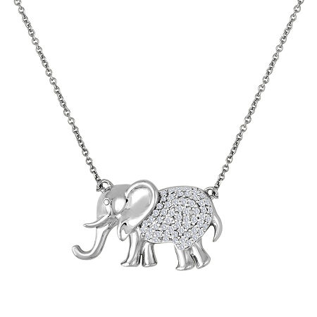 Womens 1/10 CT. T.W. Genuine White Diamond Sterling Silver Pendant Necklace, One Size , No Color Family