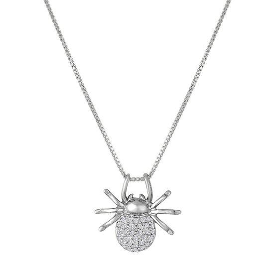 Womens 1/10 CT. T.W. Genuine White Diamond Sterling Silver Pendant Necklace