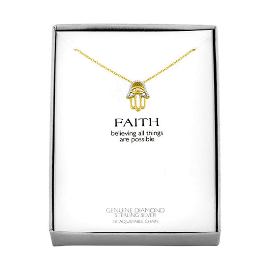 "Hamsa ""Faith"" Womens Diamond Accent Genuine White Diamond 14K Gold Over Silver Pendant Necklace"