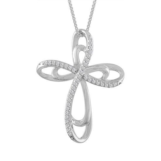 Womens 1/10 CT. T.W. Genuine White Diamond Sterling Silver Cross Pendant Necklace