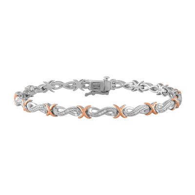 Womens 8 Inch 1/10 CT. T.W. White Diamond 14K Gold Over Silver Link Bracelet