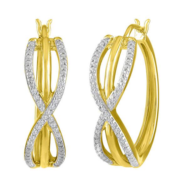 Fine Jewelry 1/10 CT. T.W. GENUINE White Diamond 14K GOLD OVER SILVER 22.6mm Hoop Earrings xe5Fx8nk3