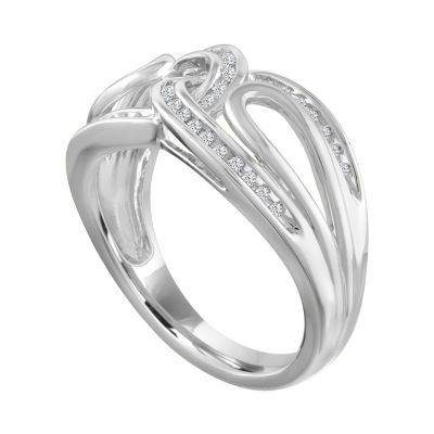 Womens 2.5mm 1/10 CT. T.W. Genuine White Diamond Sterling Silver Band