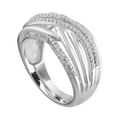 Womens 3.5mm 1/10 CT. T.W. Genuine White Diamond Sterling Silver Band