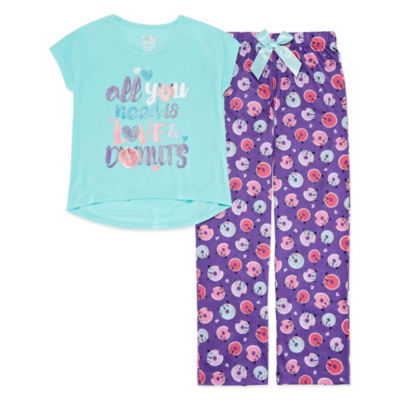 Love & Donuts 2pc Pant Pajama Set - Girls