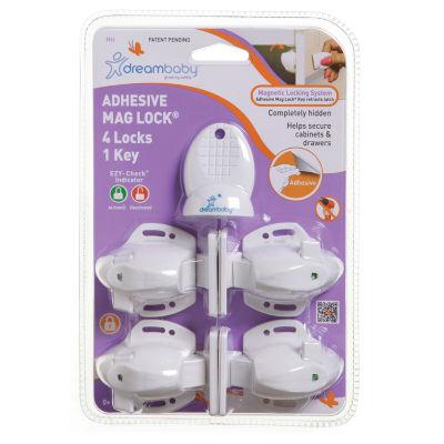 Dreambaby® Adhesive Mag Lock 4 Locks, 1 Key
