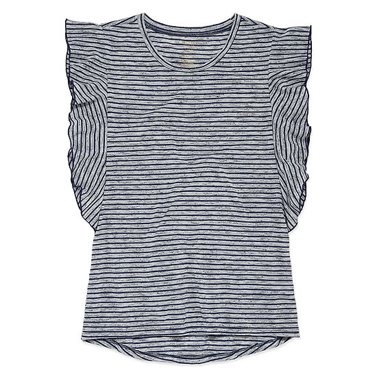 Arizona Short Sleeve Striped Ruffle Tee - Girls' 4-16 & Plus
