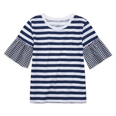 Arizona Stripe Top with Gingham Bell Sleeve - Girls' 4-16 & Plus