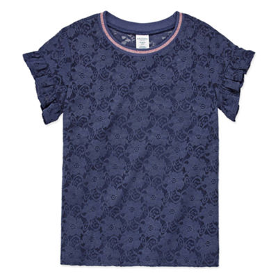 Arizona Short Sleeve Tipped Lace Tee with Cami - Girls' 4-16 & Plus
