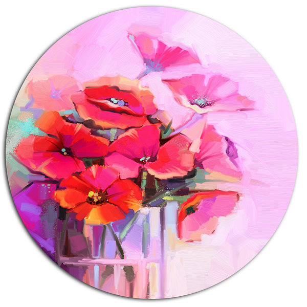 Designart Bouquet of Poppies in Glass Vase Large Floral Metal Circle Wall Art