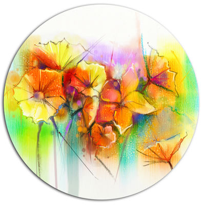 Designart Bright Yellow Gerbera and Daisies LargeFloral Metal Circle Wall Art