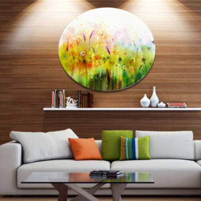 Designart Cosmos Flowers and White Wildflowers Large Floral Metal Circle Wall Art