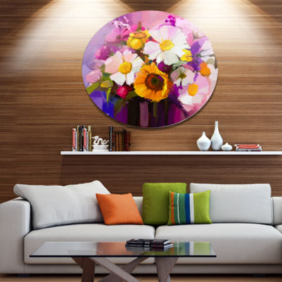 Designart Bunch of White Red Yellow Flowers LargeFloral Metal Circle Wall Art