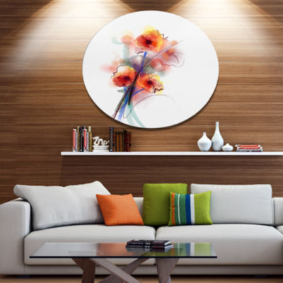 Designart Soft Color Flowers on White BackgroundLarge Floral Metal Circle Wall Art