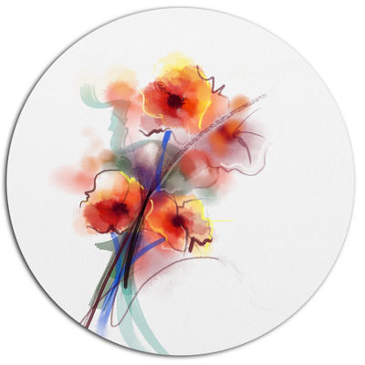 Designart Soft Color Flowers on White BackgroundLarge Floral Metal Circle Wall Art