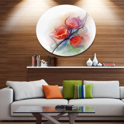 Designart Soft Floral Watercolor on Splashes LargeFloral Metal Circle Wall Art