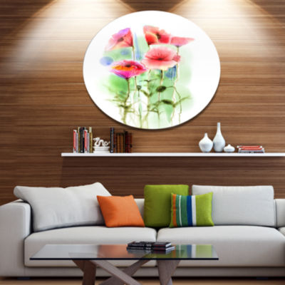 Designart Red Poppy Flowers Watercolor Sketch Large Floral Metal Circle Wall Art
