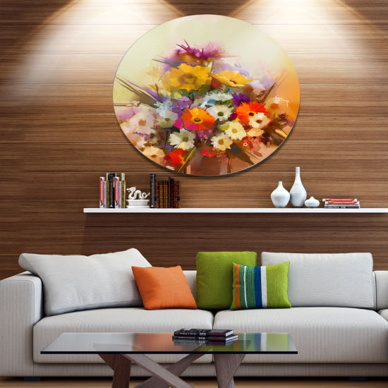 Designart Hand painted Bouquet of Flowers Large Floral Metal Circle Wall Art