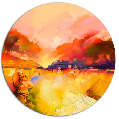 Designart Colorful Yellow Red Floral Background Large Floral Metal Circle Wall Art