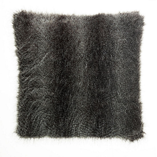 "West Park Faux Fur Acrylic 24"" Square Throw Pillow"