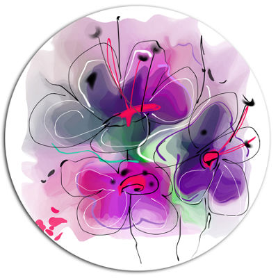Designart Purple Flower Illustration Sketch FloralMetal Circle Wall Art