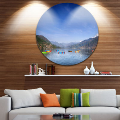 Designart Boats in Pokhara Lake Modern Seashore Circle Metal Wall Art