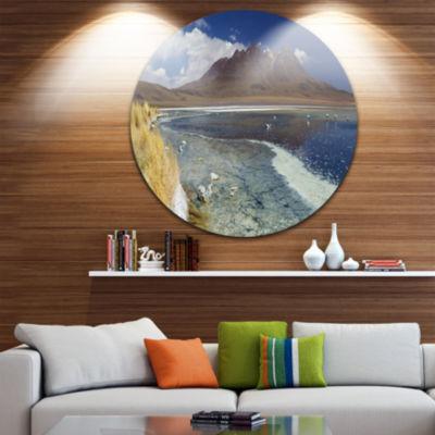 Designart Desert Lake Laguna Canapa on Sunny DayModern Seashore Circle Metal Wall Art