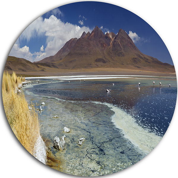 Designart Desert Lake Laguna Canapa on Sunny DayModern Seashore Circle Metal Wall Art