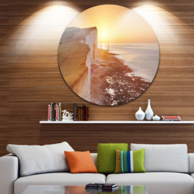 Designart Sunrise over South Coast of England Modern Seashore Circle Metal Wall Art