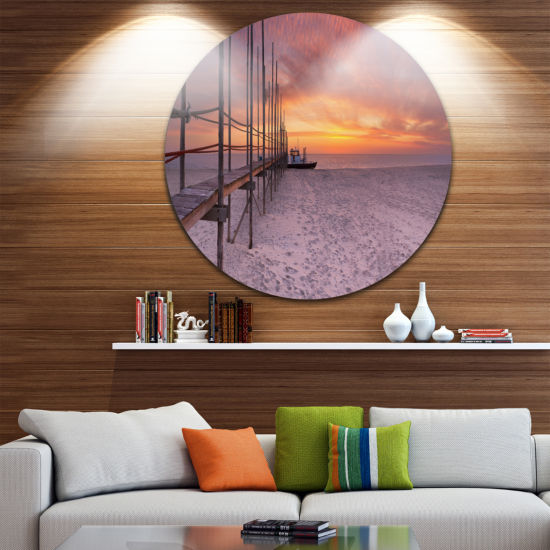 Designart Texel Island Seaside Jetty Panorama Modern Seashore Circle Metal Wall Art
