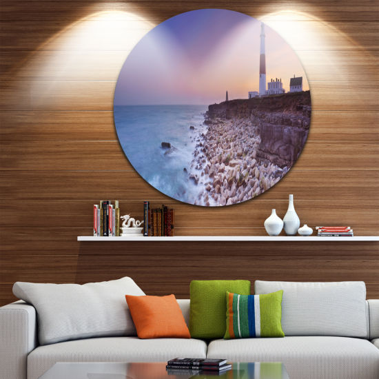 Designart Portland Bill Lighthouse in Dorset Modern Seashore Circle Metal Wall Art