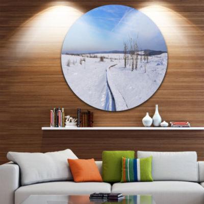 Designart Hautes Fagnes in Belgium Panorama ModernSeashore Circle Metal Wall Art