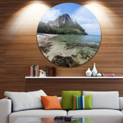 Designart Koh Mook Coast Line Modern Seashore Circle Metal Wall Art