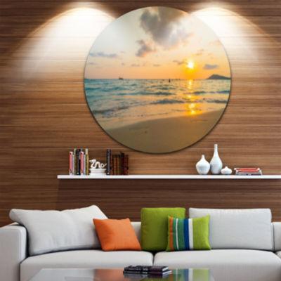 Designart Stylish Blur Sunset over the Sea Seashore Circle Metal Wall Art