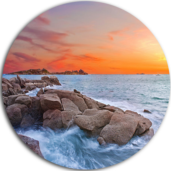 Design Art Colorful Sunset at Rocky Seaside Seashore Circle Metal Wall Art