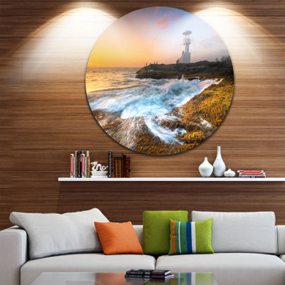 Designart Lighthouse on Beautiful Seashore Seashore Circle Metal Wall Art