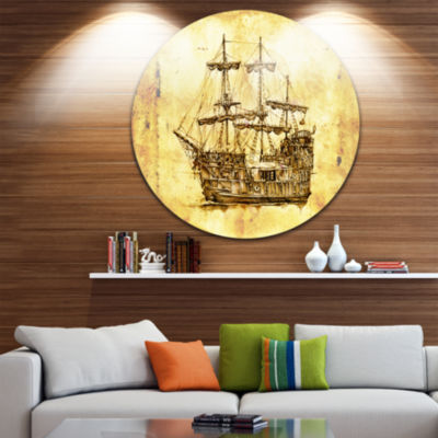 Designart Old Travelling Boat Drawing Seashore Circle Metal Wall Art