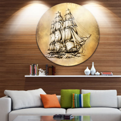 Designart Moving Old Sailboat Drawing Seashore Circle Metal Wall Art