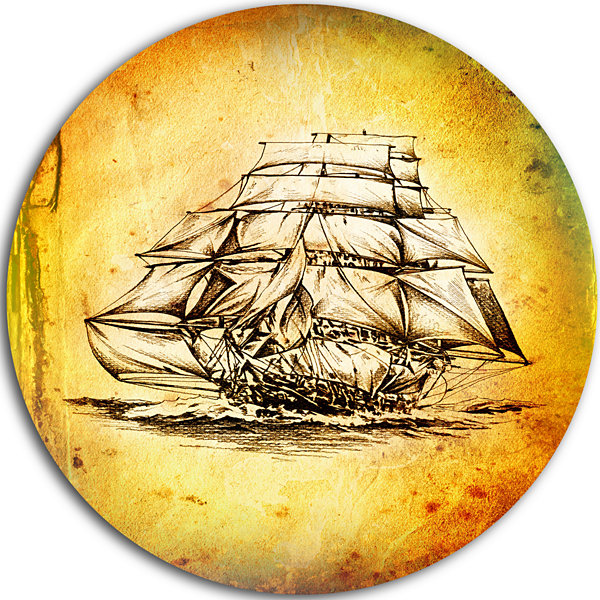 Designart Colorful Old Moving Boat Drawing Seashore Circle Metal Wall Art