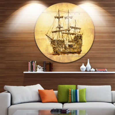 Designart Brown Ancient Moving Boat Seashore Circle Metal Wall Art