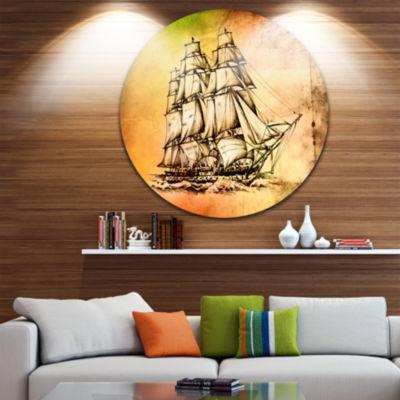 Designart Large Ancient Moving Boat Seashore Circle Metal Wall Art
