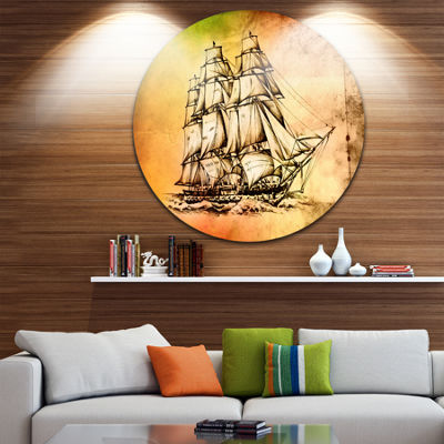 Designart Large Ancient Moving Boat Seashore Circle Metal Wall Art