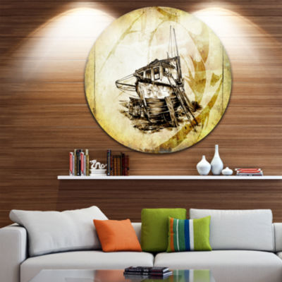 Designart Drawing of Large Ancient Boat SeashoreCircle Metal Wall Art