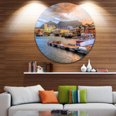 Designart Cape Town Waterfront at Sunset Modern Landscape Circle Metal Wall Art